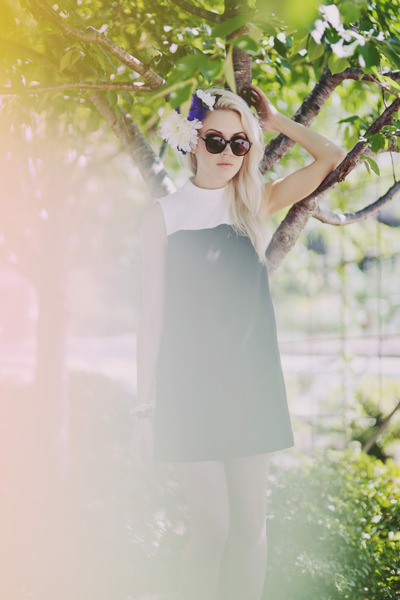 black Forever 21 dress - violet DIY hat