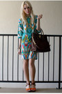 Turquoise-blue-print-calvin-klein-dress-brown-satchel-michael-kors-bag
