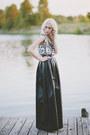 Black-silk-tribal-bcbg-shirt-black-esque-skirt