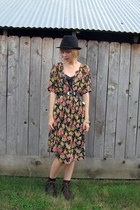 black floral print thrifted vintage dress - dark brown lace-up boots