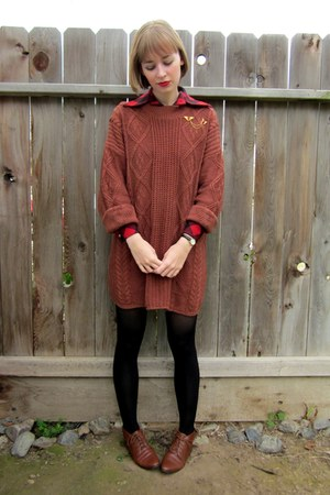 brown thrifted sweater - brown lace-up vintage boots