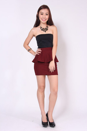 peplum wine red luvenuecom skirt