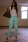 Lime-green-silk-topshop-pants-ivory-zara-shirt-dark-brown-zuca-fendi-bag