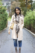 BCBG coat - anthropologie scarf accessories - AG jeans - Chanel accessories - sa