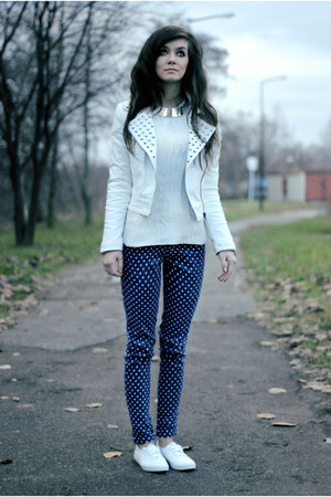 white leather Motel Rocks jacket - navy polka dots lulus pants