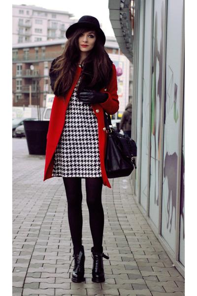 red retro Choies coat - black black boots Zara boots