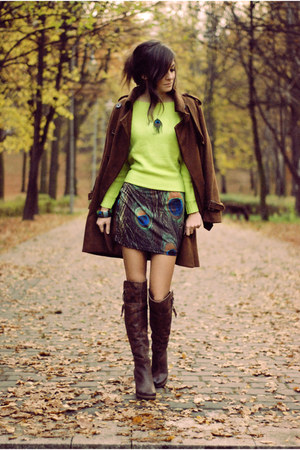 dark brown romwe coat - printed BlackMilk dress - light yellow neon romwe jumper