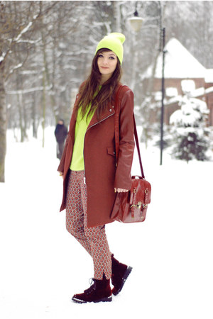 crimson wool Sheinside coat - crimson red romwe bag