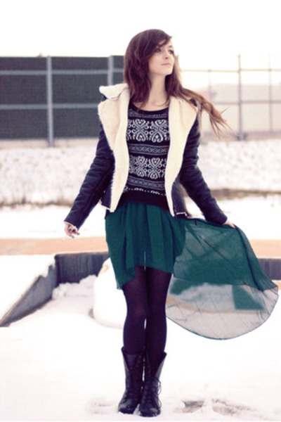 black leather Sheinside jacket - dark green lovely romwe skirt