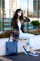 navy checkered Sheinside coat - sky blue jeans romwe pants