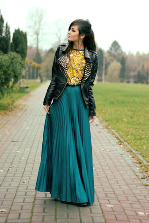 dark green maxi skirt lulus skirt - black leather romwe jacket