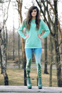 Light-blue-blackmilk-sheinside-leggings-aquamarine-stunds-romwe-jumper