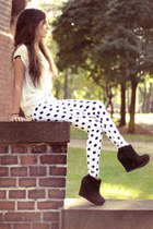 white cotton Motel Rocks pants - black chiffon Sheinside shirt