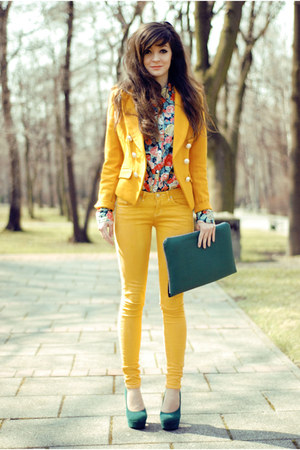 red floral H&M shirt - mustard mustard Sheinside jacket
