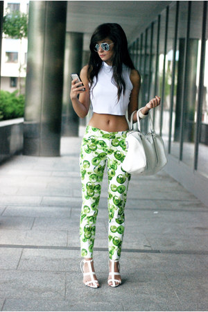 white crop top Choies top - chartreuse floral Zara pants - white minimal sandals
