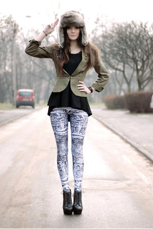 dark khaki military H&amp;M blazer - rocker Lovelysally leggings