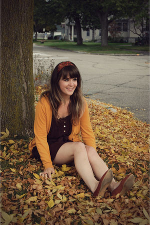 brown LuLus dress - yellow Urban Outfitters cardigan - brown Urban Outfitters sh