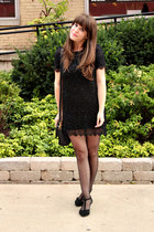 black Joa  Closet dress - black H&M tights - black vintage Coach purse