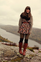 tawny Wanted boots - brick red vintage dress - light brown threadsence sweater