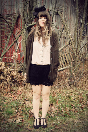 army green thrifted cardigan - black Urban 1972 shorts - black modcloth shoes -