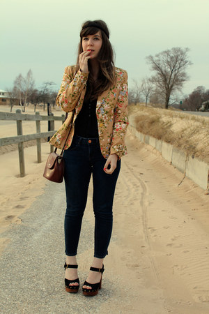 bronze modcloth blazer - black Jeffrey Campbell shoes - blue Gap jeans