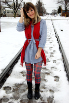 blue Forever 21 dress - red Target scarf - red Betsey Johnson tights - black Jef