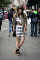 green Ruche top - white H&M dress - brown Ruche belt - brown Urban Outfitters sh