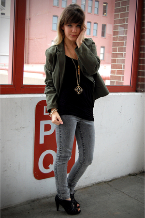 green thrifted jacket - gray Forever 21 jeans - black Target shoes - gold vintag