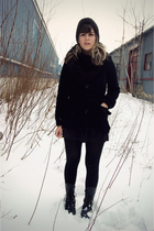 black H&M jacket - Jeffrey Campbell boots - black unknown hat - black unknown ti