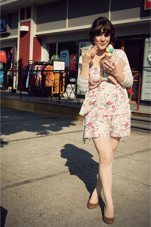 pink modcloth dress - gray modcloth cardigan - pink Forever 21 accessories - bei