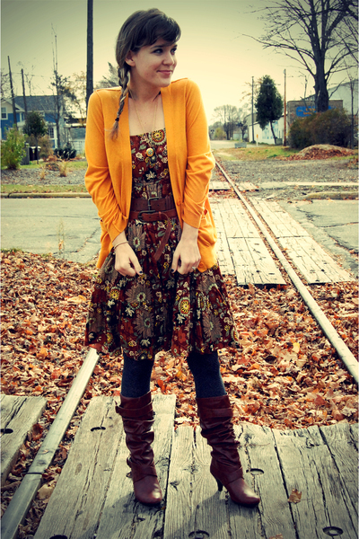 brown thrifted dress - gold BDG at urban outfitters cardigan - brown forever 21u