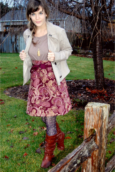 pink thrifted skirt - brown Betsey Johnson tights - beige Gap jacket - brown For