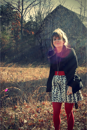 black H&M coat - black thrifted shirt - red Forever 21 belt - black Forever 21 s