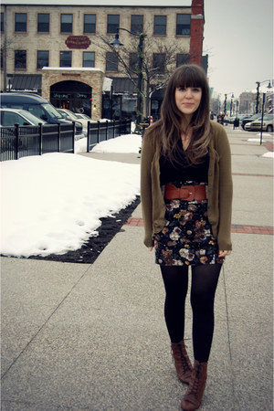 dark brown Vintage crown boots - black Target tights - olive green H&M cardigan