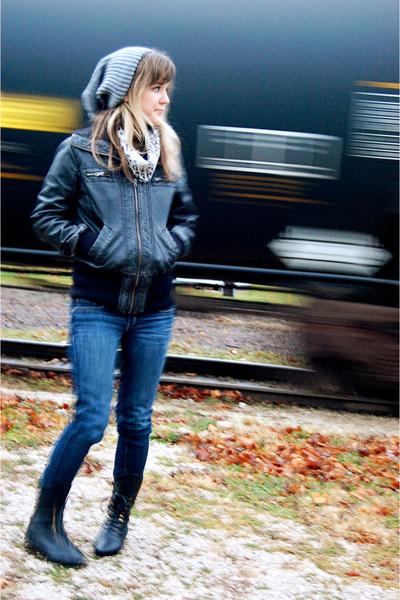 black b hip by me jane jacket - blue ae jeans - black Jeffrey Campbell boots - g
