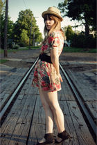 black Urban Outfitters shoes - pink modcloth dress - beige modcloth hat