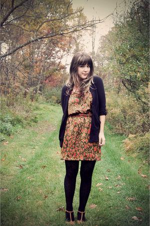 orange LuLus dress - black Urban Outfitters cardigan - brown Shop Ruche belt - b