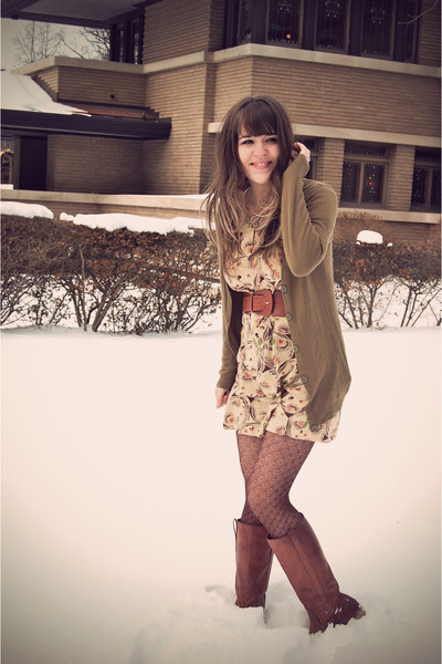 brown Wanted boots - eggshell Anthropologie dress - brown modcloth tights