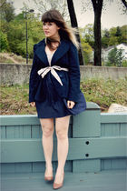 blue modcloth dress - beige DSW shoes - blue Forever 21 blazer