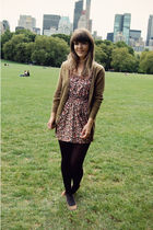 black Target tights - brown Urban Outfitters shoes - pink Shop Ruche dress - gre