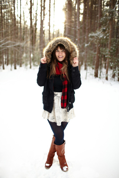 brown Wanted boots - black TJ Maxx jacket - navy LuLus tights - brick red Younke