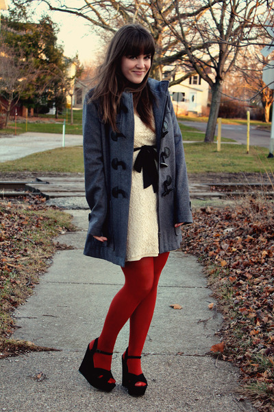 charcoal gray Element jacket - cream Shop Ruche dress - ruby red Target tights