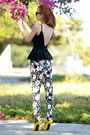Black-nasty-gal-top-white-etro-pants-yellow-alexander-mcqueen-heels