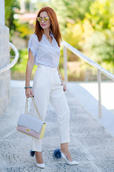 light yellow Chanel bag - light blue Massimo Dutti shirt - Tom Ford sunglasses
