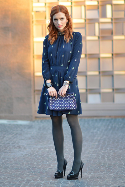 navy Juicy Couture dress - deep purple Jimmy Choo bag - black Casadei heels