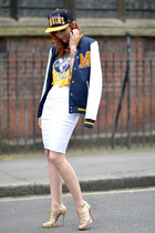 navy Topshop jacket - white Topshop skirt - light yellow Jimmy Choo sandals