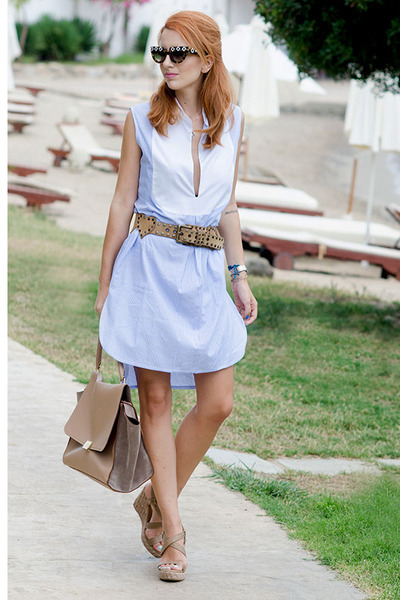 vintage belt - Evi Grintela dress - Celine bag - Prada sunglasses
