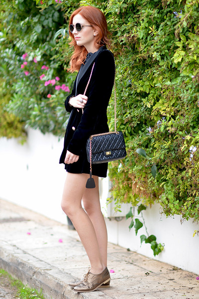 black Zara blazer - tan asos shoes - black Chanel bag