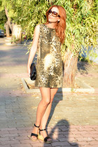 Chanel purse - Maje dress - Tom Ford sunglasses - Chanel wedges