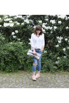 H&M blouse - H&M jeans - Monki bag - Adidas sneakers